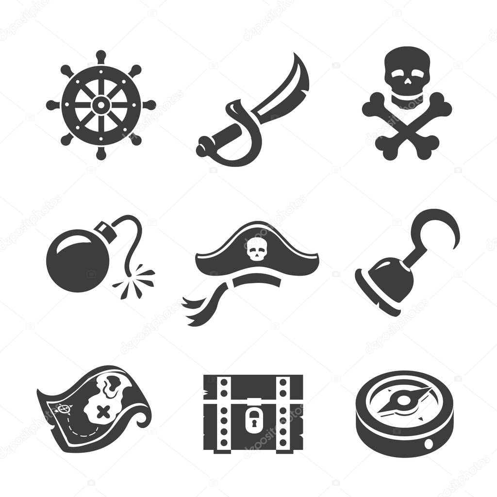 Pirate Icons skull and chest, treasure, map. Corsair simbols set
