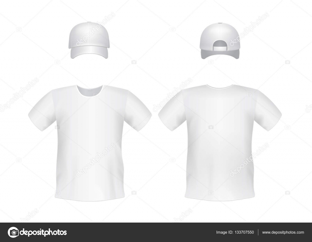 White blank mens t-shirt template with a cap Front and back views ...