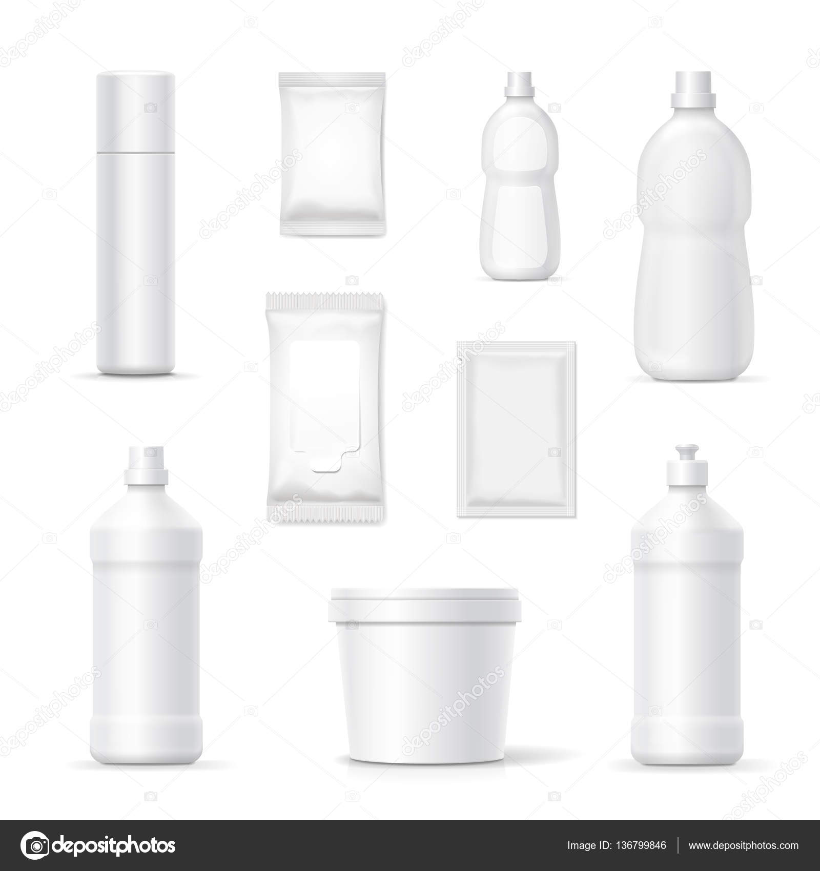 Set of bottles and packages of detergents and cleaning for Bathroom bottles