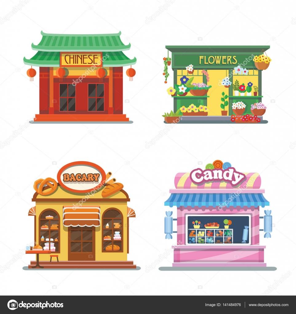 お店の素敵なショーケースパン屋さん菓子屋さん中華料理花