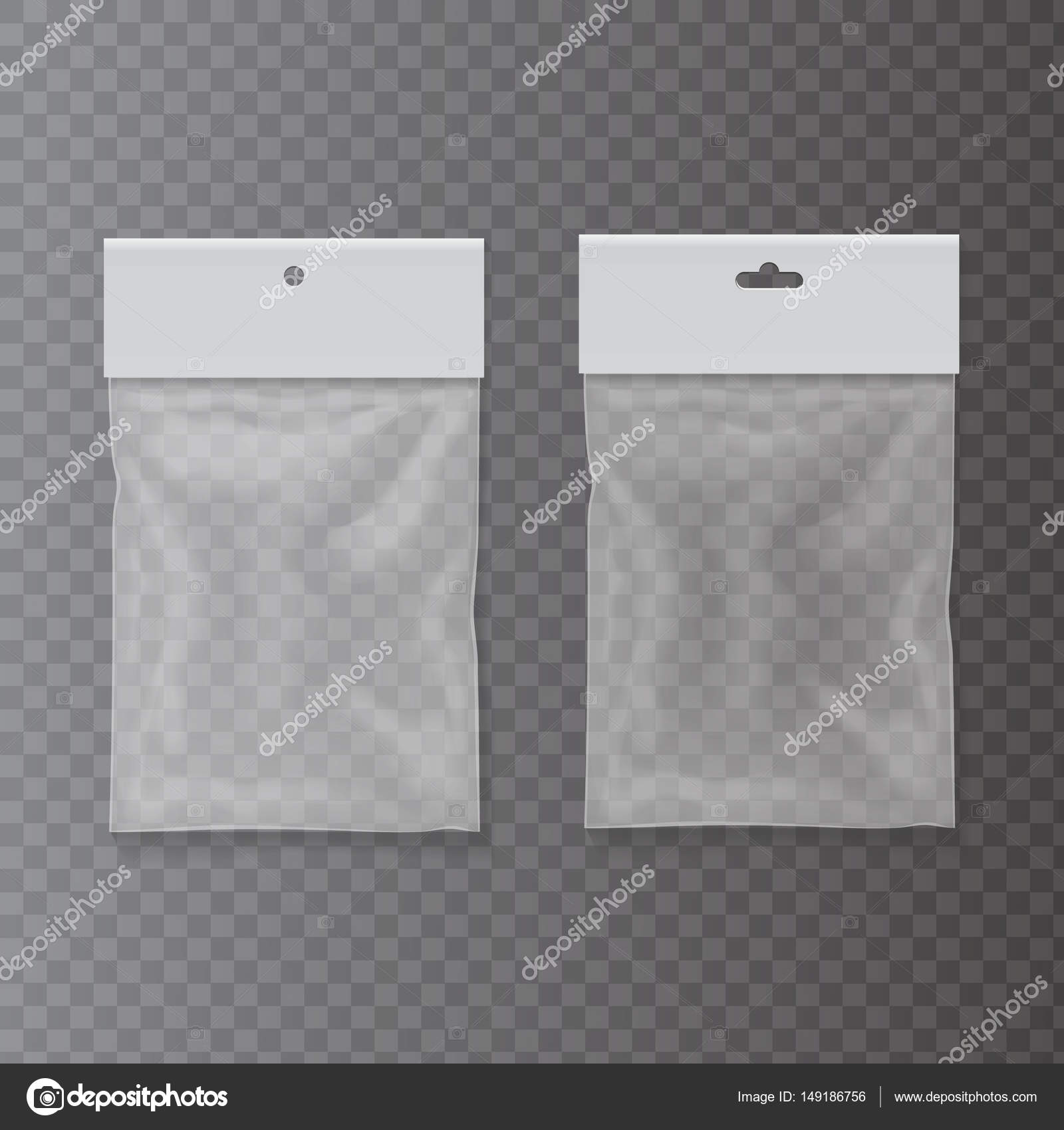 Прозрачные пластиковые карманные мешки с повесить слот — векторное.