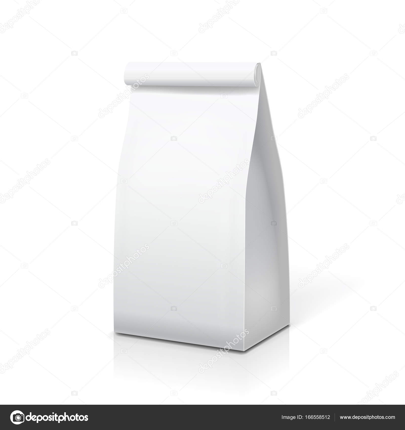 paper bag for food coffee tea white blank package template stock