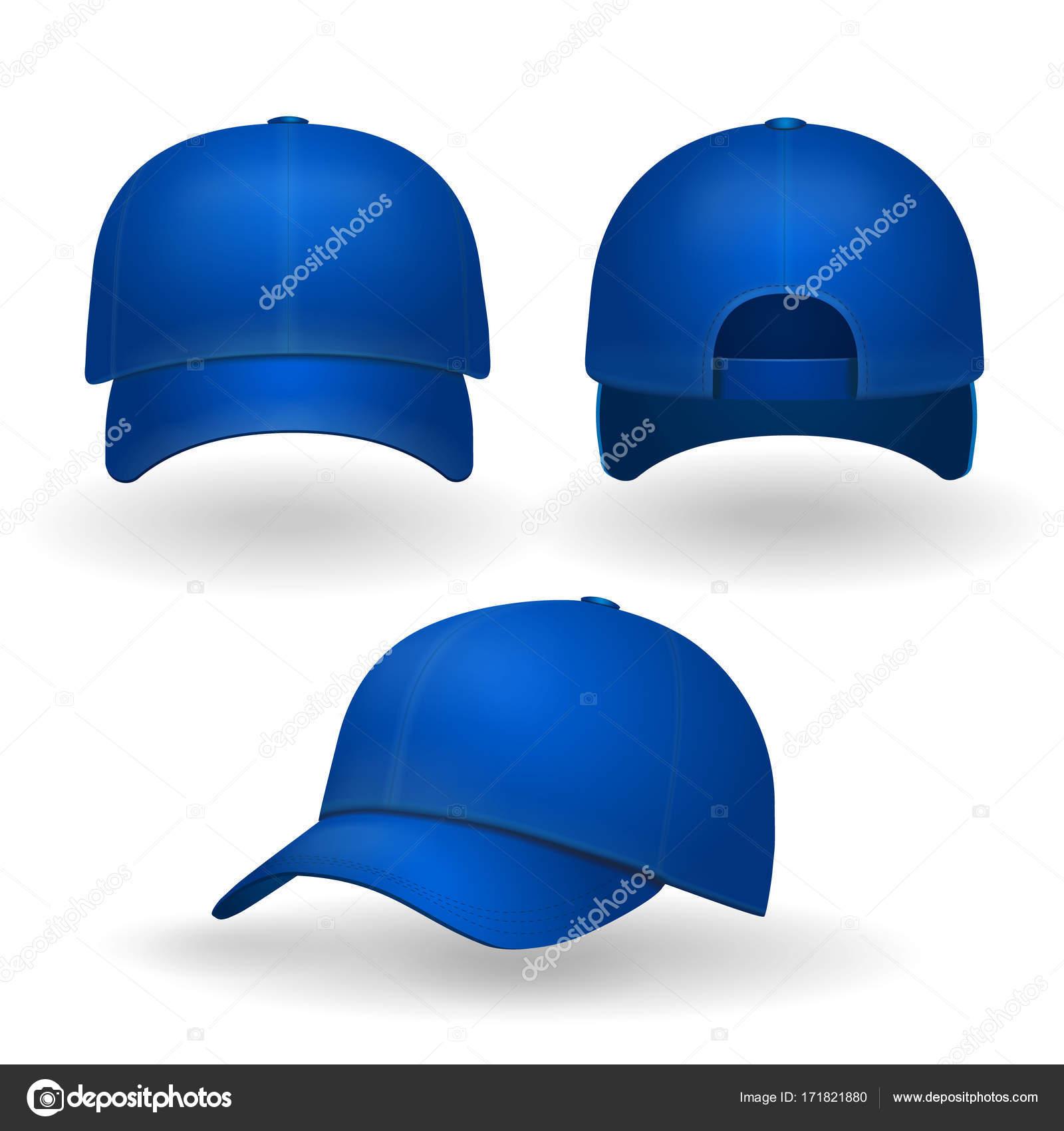 Gorra de béisbol azul establece vista frontal aislado sobre fondo blanco —  Vector de stock b618726836a