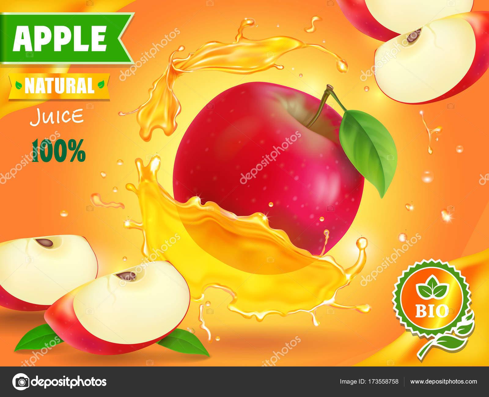 apple juice advertising fruit refreshing drink ad stock vector
