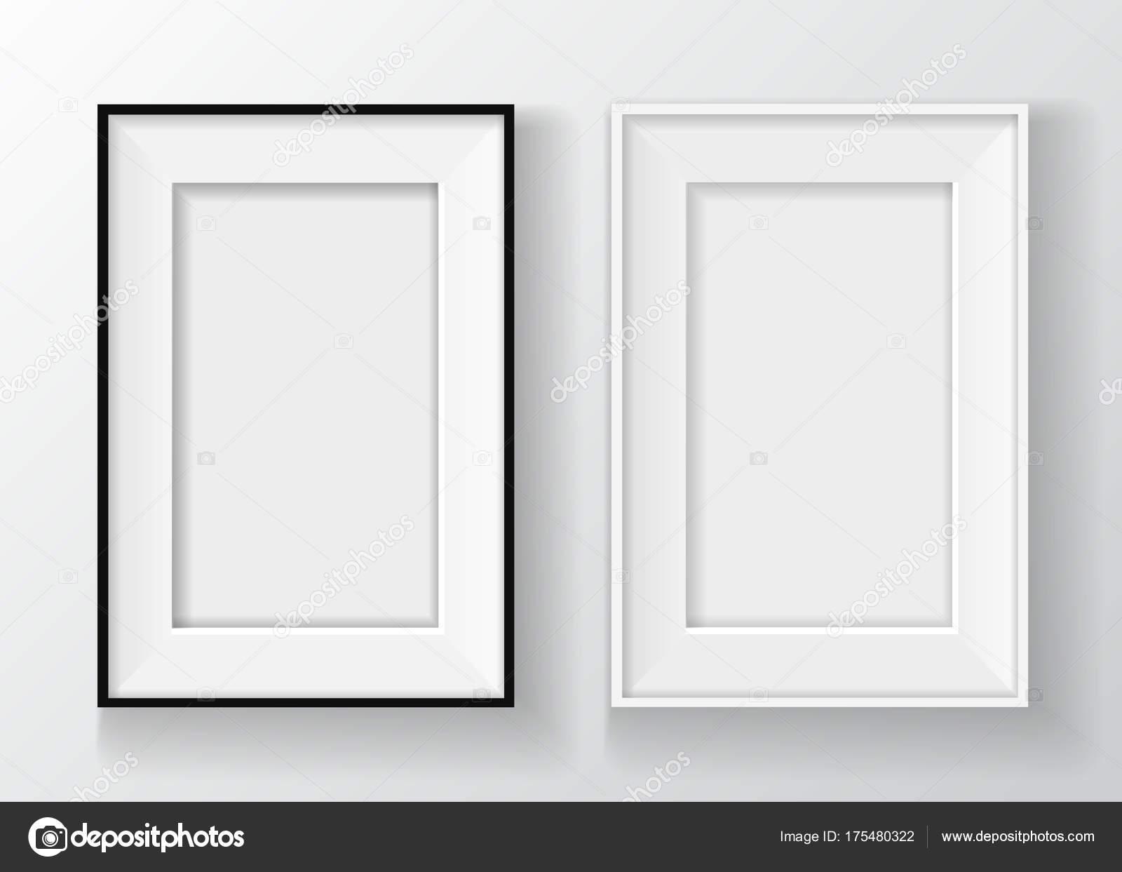 Realistische schwarz-weiß Bilderrahmen an der Wand isoliert auf ...