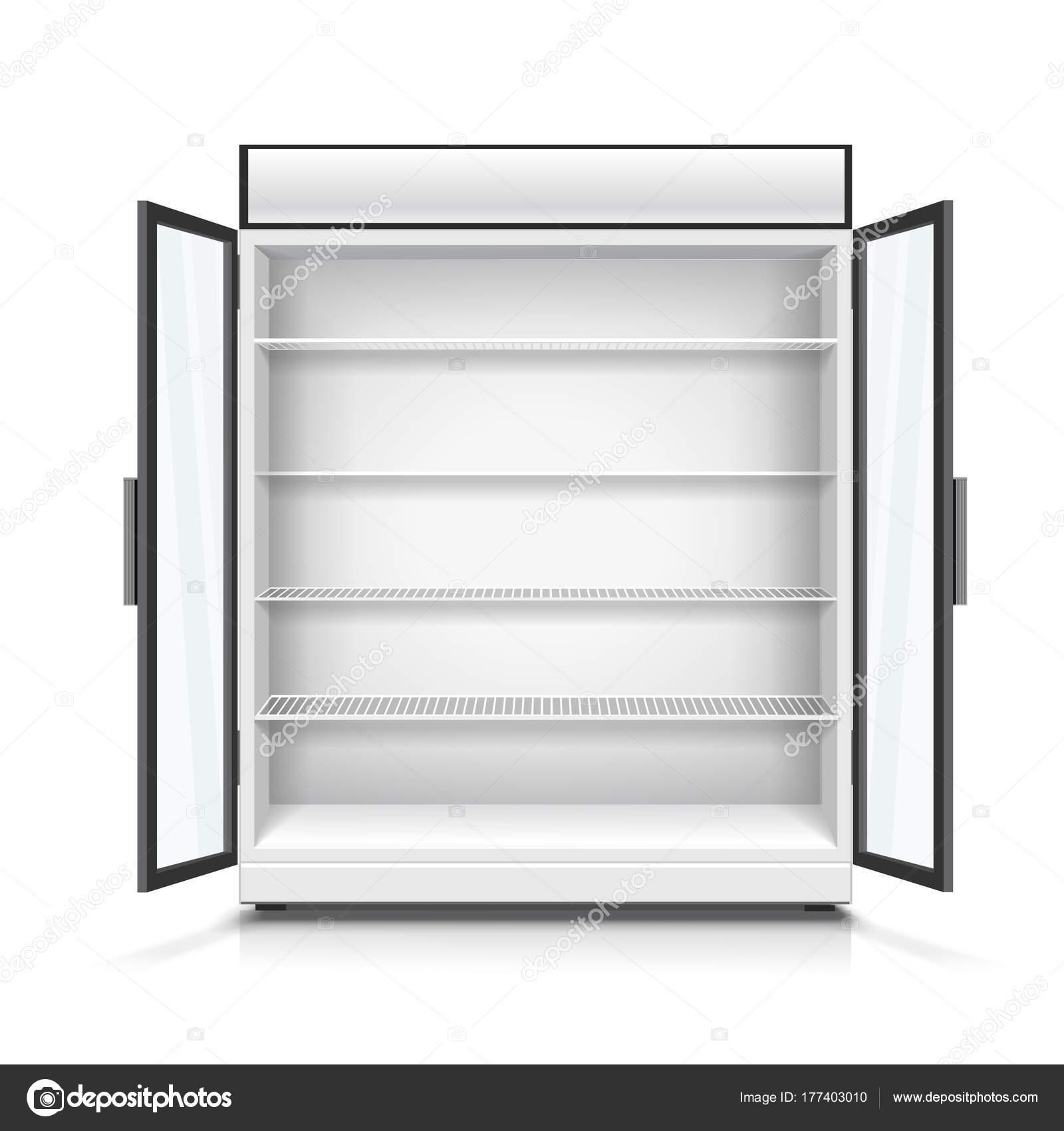 empty commercial fridge with shelves 3d illustration stock photo