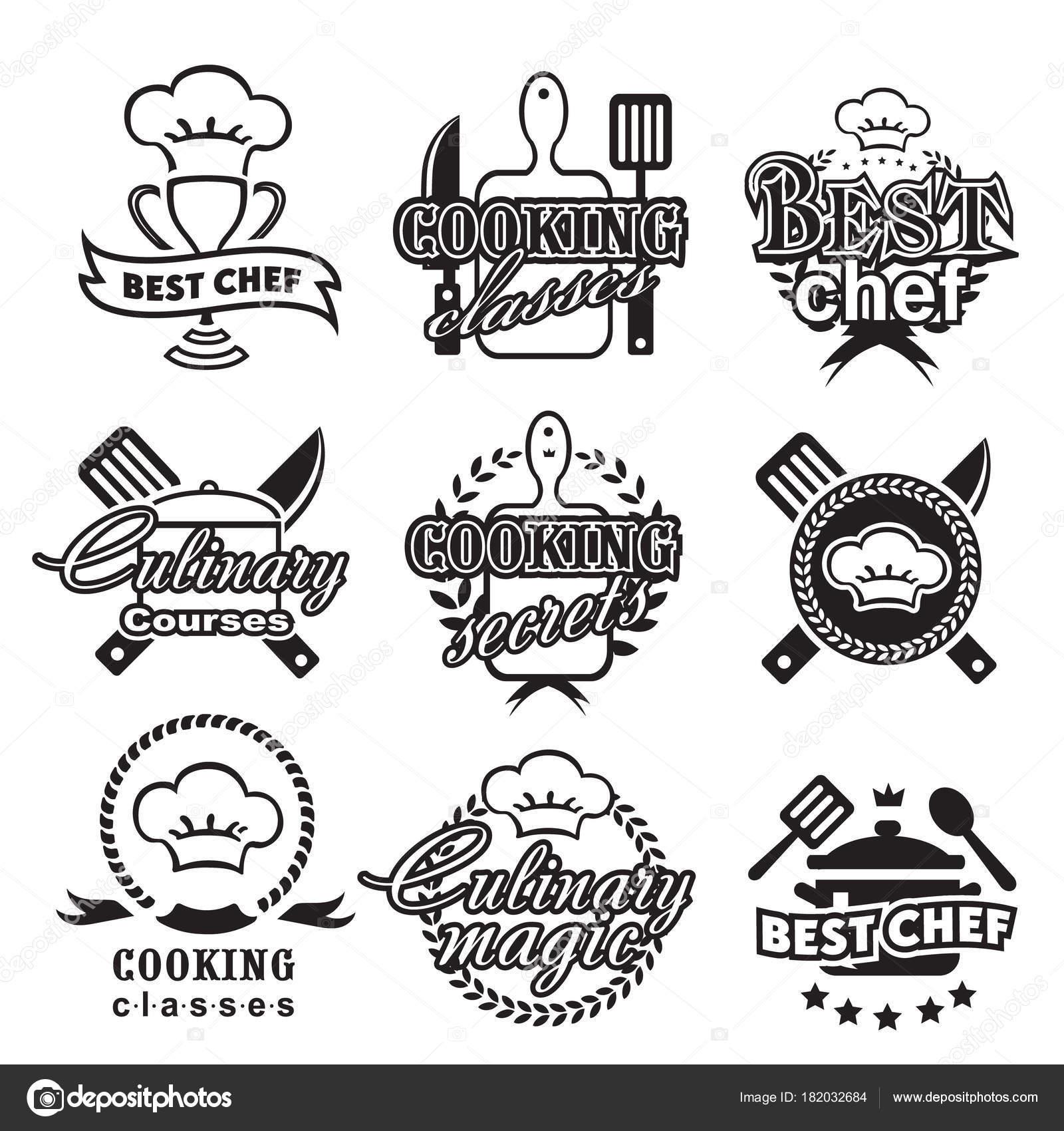 Küche-Klassen-Etiketten. Ernährung und gesundes Kochen Silhouette ...
