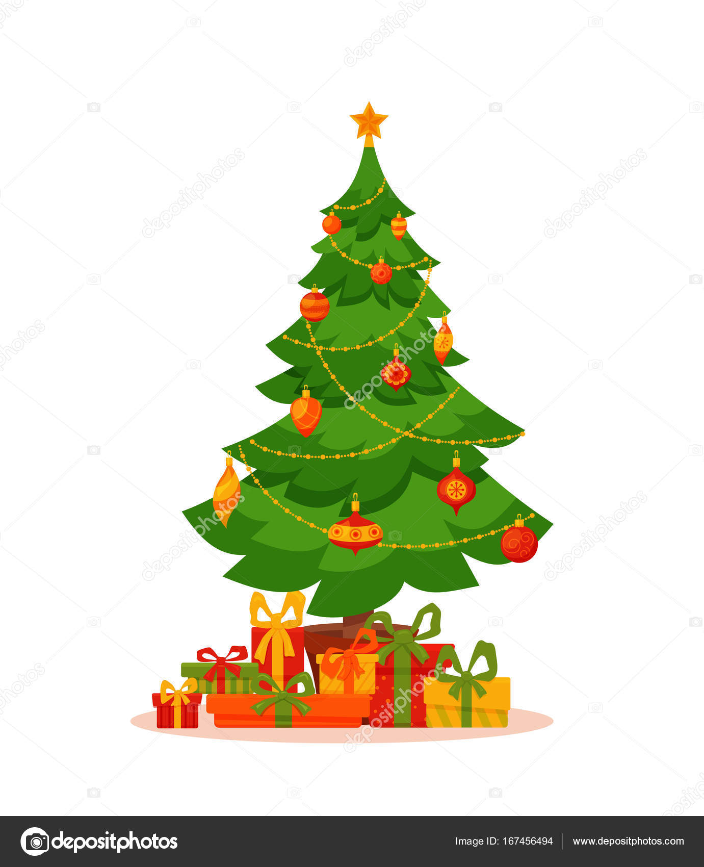 Christmas Tree Decorated Vector Illustration Stock Vector