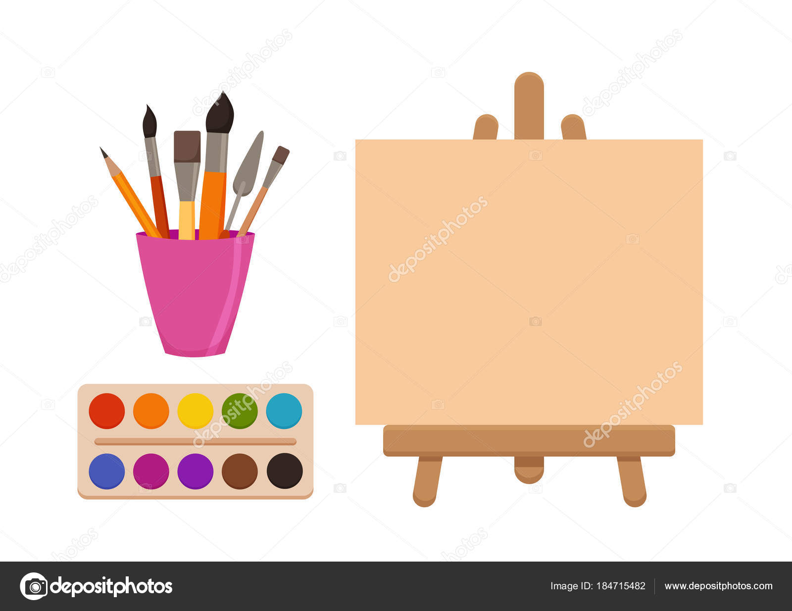Elementos De Ferramentas De Pintura Dos Desenhos Animados