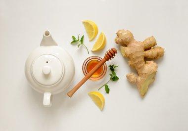 Ginger tea ingredients concept