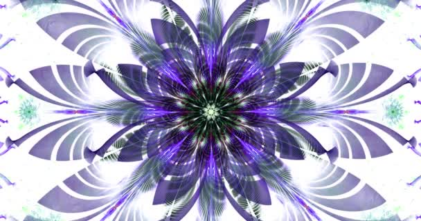 Rapid color changing loop able abstract fractal video with large dark central flower and decorative stars and space flowers around in glowing colors, 4k, 4096p, 25fps