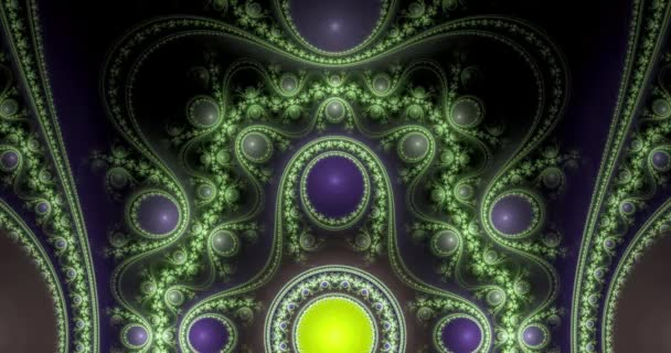 Abstract dynamic loopable color changing fractals made out of modern looking intricate glowing pattern of connected rings, circles, arches and waves in glowing colors