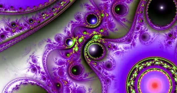 Abstract dynamic loop able color changing fractal video made out of modern looking intricate glowing pattern of connected rings, circles, arches and waves in dark vivid colors, 4k, 4096p, 25fps