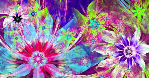 Rapid color changing abstract fractal video with interconnected stars, space flowers with intricate decorative geometric pattern surrounding and connecting them in bright vivid colors,4k,4096p,25fps
