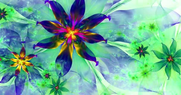 Rapid color changing abstract modern fractal background with twisted interconnected psychedelic space flowers with intricate decorative  pattern surrounding them, in dark vivid colors, 4k