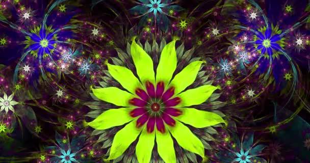 Rychlé barevné měnící se abstraktní moderní fraktální pozadí s propletenými psychedelickými prostorovými květinami se složitým dekorativním vzorem obklopujícím je v zářivých barvách, 4k, 4096p, 25fps