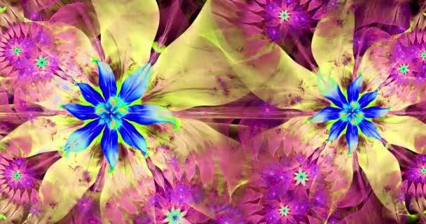 Gyors színváltó absztrakt fraktál videó összekapcsolt csillagok, tér virágok bonyolult dekoratív geometriai minta körül, és összeköti őket élénk színek, 4k, 4096p, 25fps