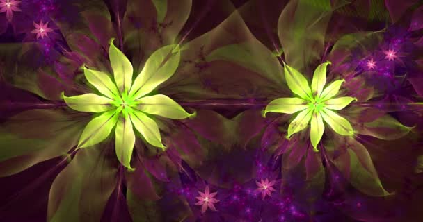 Rapid color changing abstract modern fractal background with twisted interconnected psychedelic space flowers with intricate decorative  pattern surrounding them in glowing colors, 4k, 4096p, 25fps