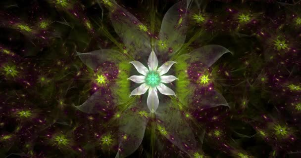 Rapid color changing loop able abstract fractal video with large white central flower and decorative stars and space flowers around in glowing colors, 4k, 4096p, 25fps