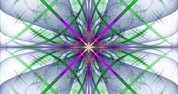 Rapid color changing loopable abstract fractal background made out of an intricate large central star with decorative beams, arches, rings and rectangular tiles in dark vivid colors, 4k, 4096, 25fps