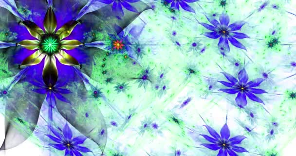 Gyors színváltó absztrakt modern fraktál háttér csavart összekapcsolt pszichedelikus tér virágok bonyolult dekoratív mintát körülvevő őket, sötét élénk színek, 4k