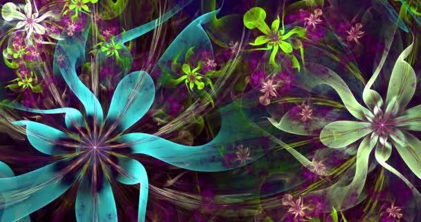 Rychlé barevné měnící se abstraktní moderní fraktální pozadí s propletenými psychedelickými prostorovými květy s organickými pohyblivými chapadly a se složitým dekorativním vzorem obklopujícím je v zářivých barvách, 4k, 4096p, 25fps