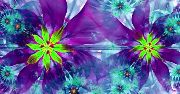 Rychlé barevné měnící se abstraktní moderní fraktální pozadí s propletenými psychedelickými prostorovými květinami se složitým dekorativním vzorem obklopujícím je, v tmavých živých barvách, 4k