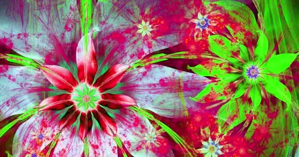 Gyors színváltó absztrakt modern fraktál háttér csavaros összekapcsolt pszichedelikus tér virágok bonyolult dekoratív mintát körülvevő őket, fényes élénk élénk színek, 4k