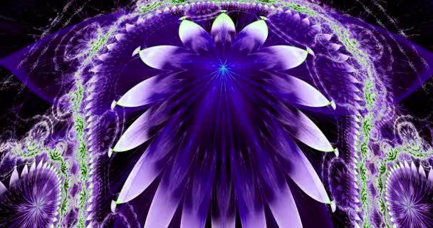 Rychlé barevné měnící se abstraktní moderní fraktální pozadí s propletenými psychedelickými prostorovými květinami se složitým dekorativním vzorem obklopujícím je, v jasně zářivých živých barvách, 4k