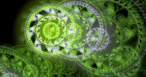 Rapid color changing abstract fractal background of stars with decorative discs and various  patterns forming a large decorative spiral, 4k, 4096p, 25fps