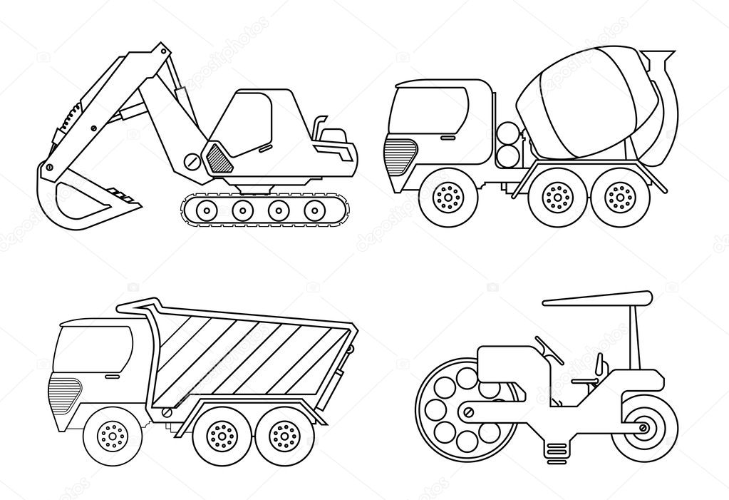 Coloring Book For Kids Vector Illustration Of Crane Car Cement
