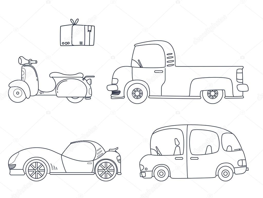 Conjunto de Linda coche para colorear ilustración de la página para ...