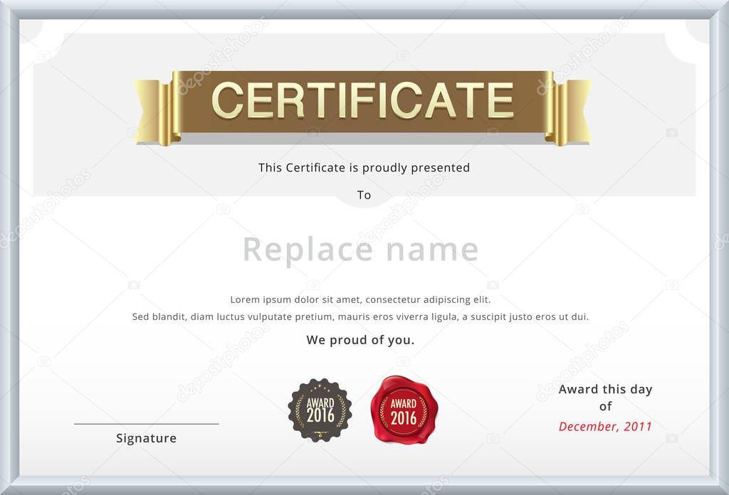Gold-Zertifikat-Vorlage. Ausbildung Diplom mit gold Text. Sam ...