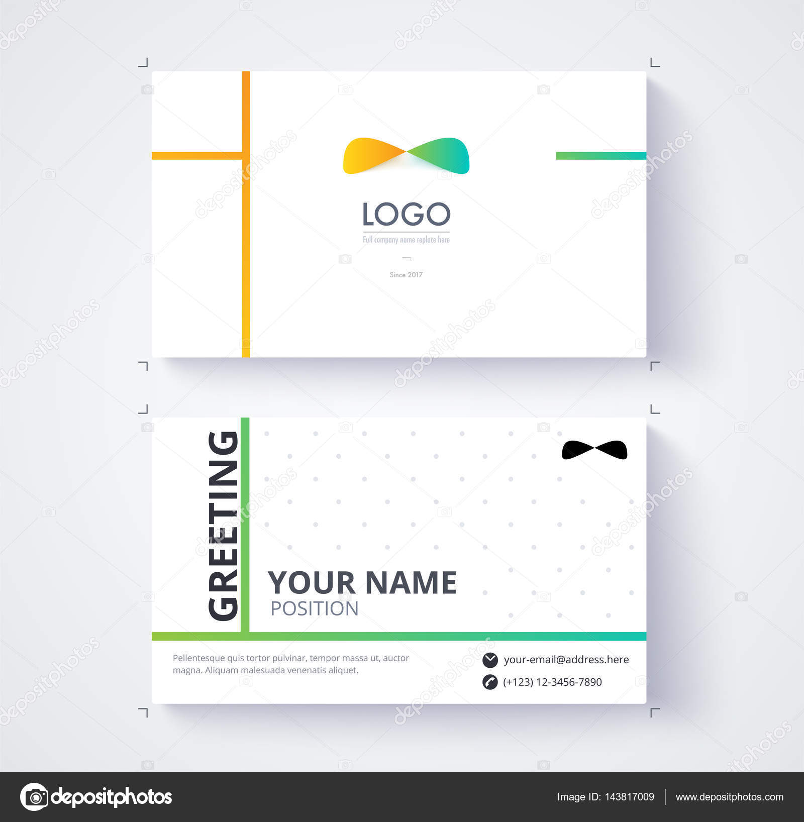 Business Card Template Example Logo Text Position Vector Card ...