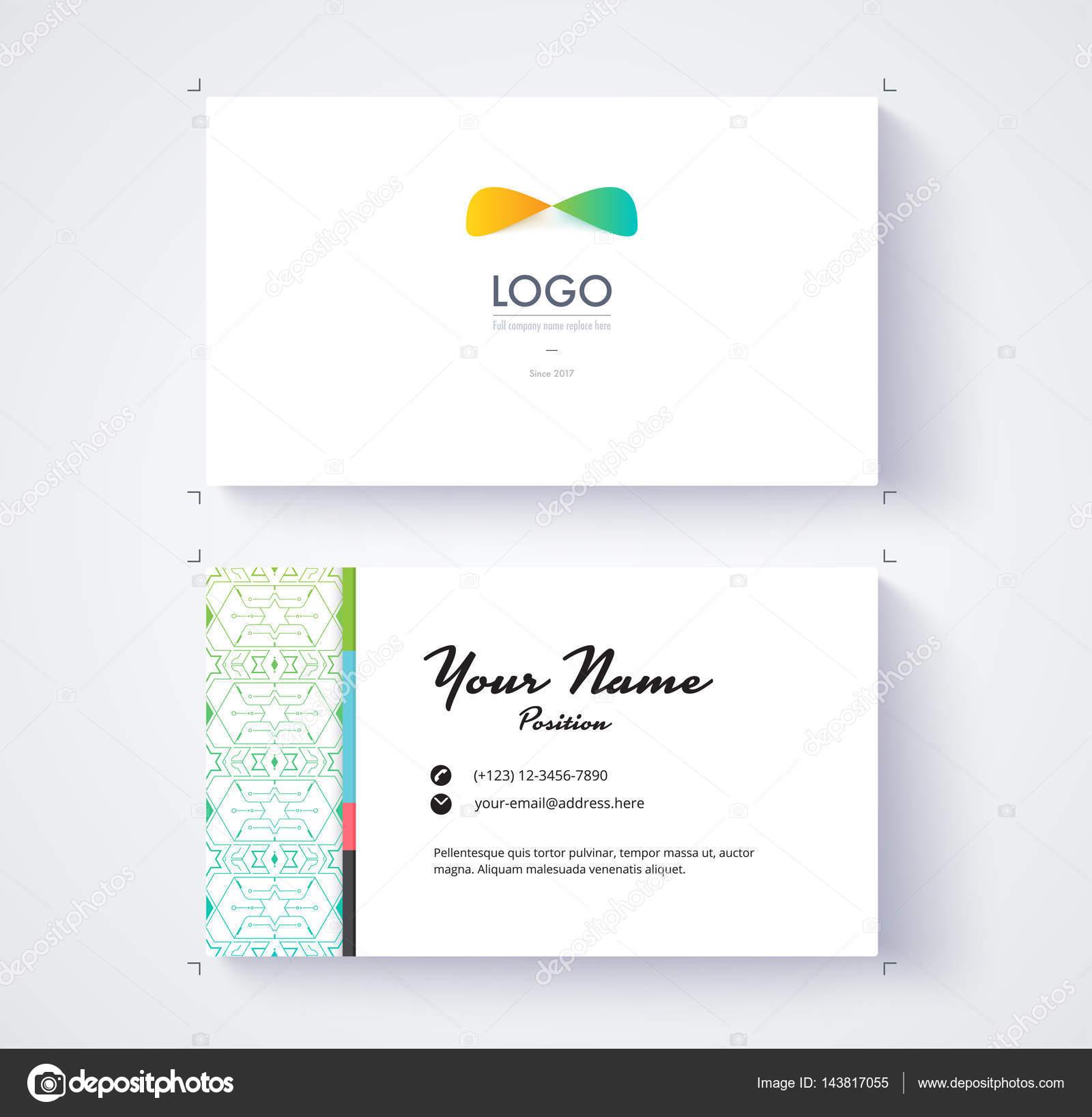 Modele De Carte Visite Exemple Logo Et Texte Position Vecteur Par