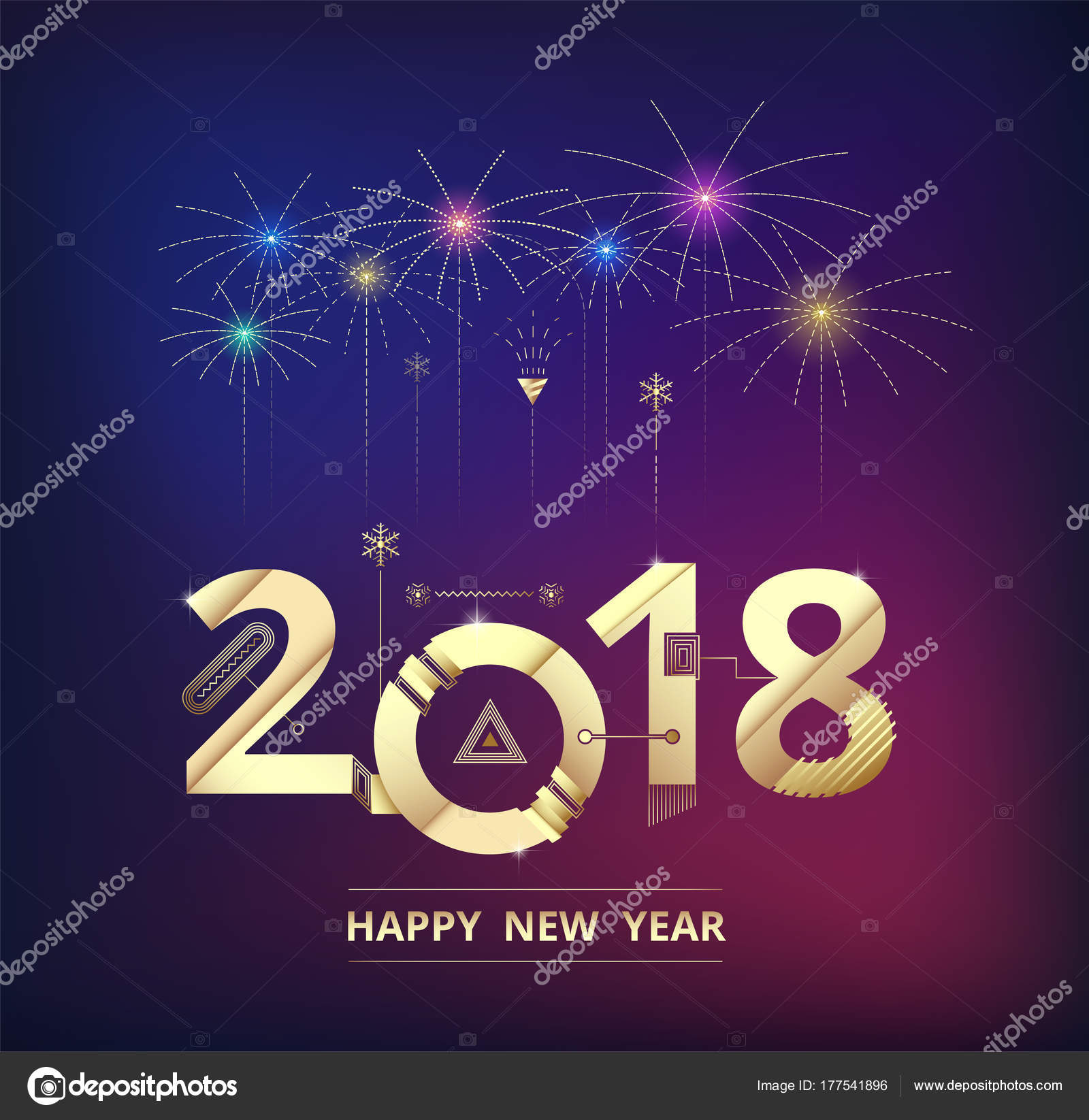 2018 Happy New Year Background Celebration Firework Design Simple Firework  — Stock Vector 5aac433a78280
