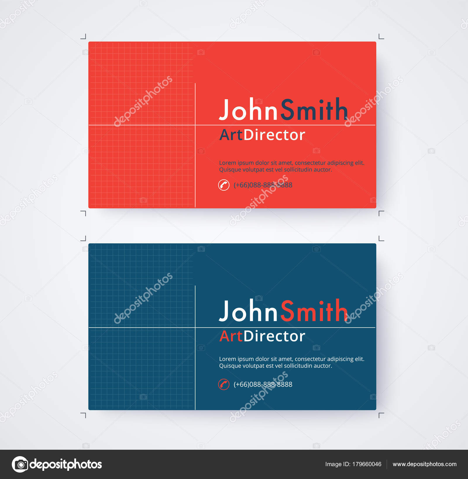 Business Card Template For Commercial Design On White Background Stock Vector