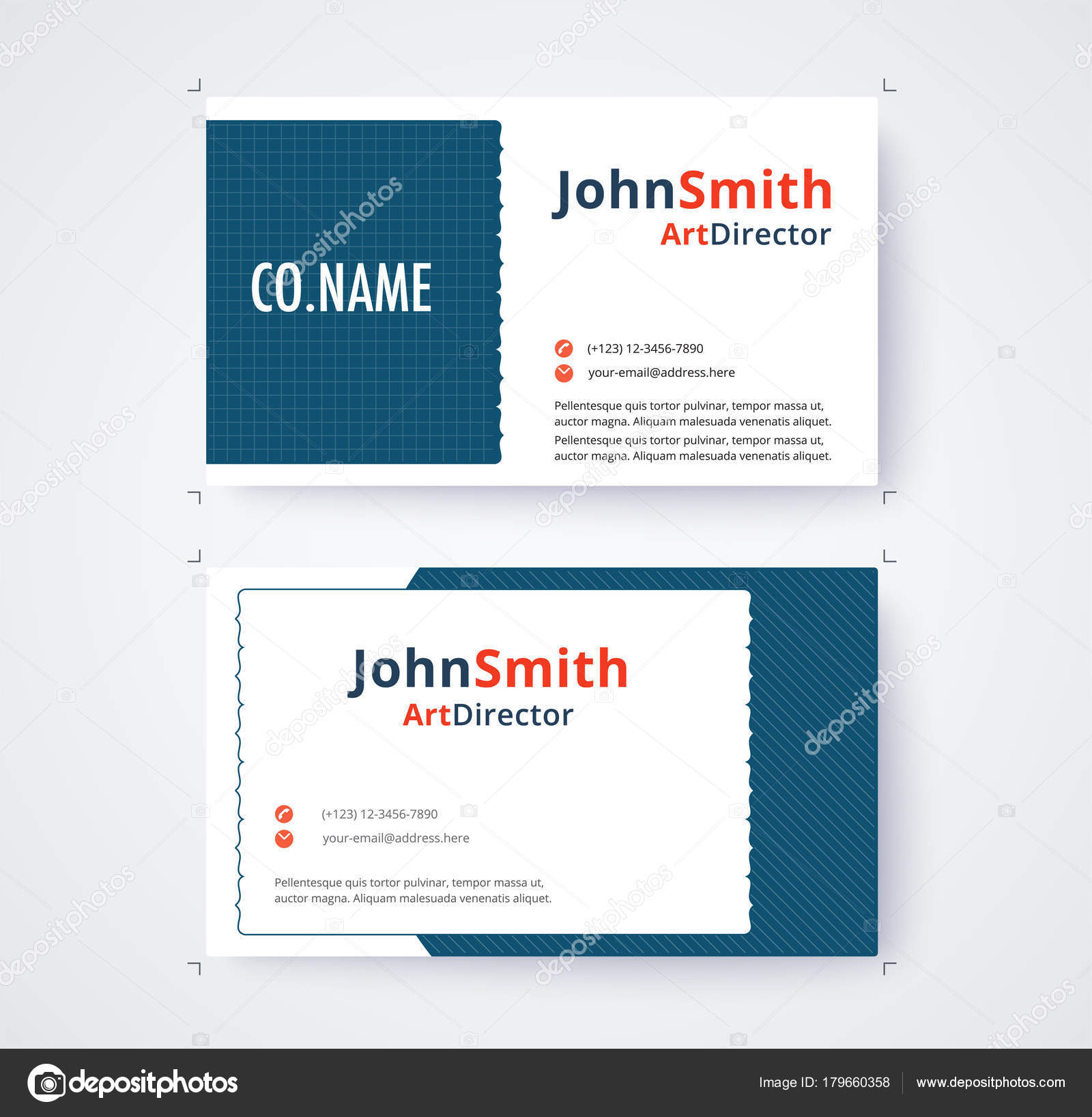 Business Card Template For Commercial Design On White Background Vector Illustration Stock
