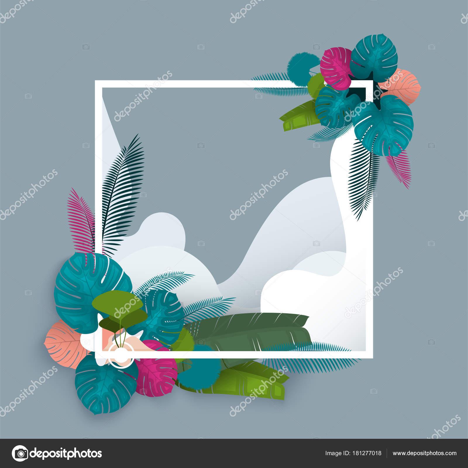 Diseño Marco Tropical Para Impresión Invitación Verano Marco ...
