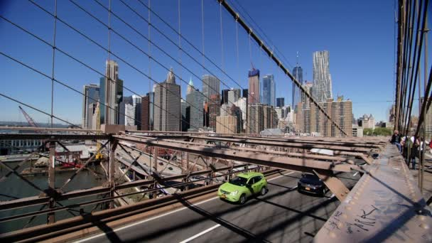 Extreme Slow Motion Cars Passing by on Brooklyn Bridge