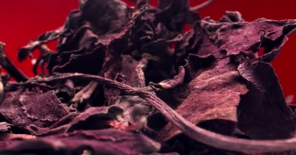Extreme Macro Shot of Dried Purple Basil Leaves Rotating Red Background
