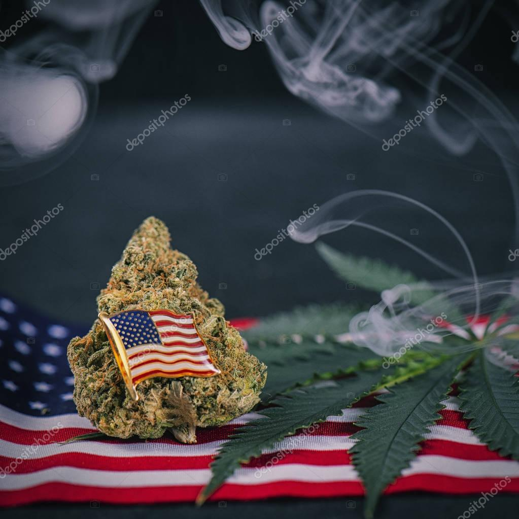 Cannabis bud, leaf and american flag with smoke  - veteran medic
