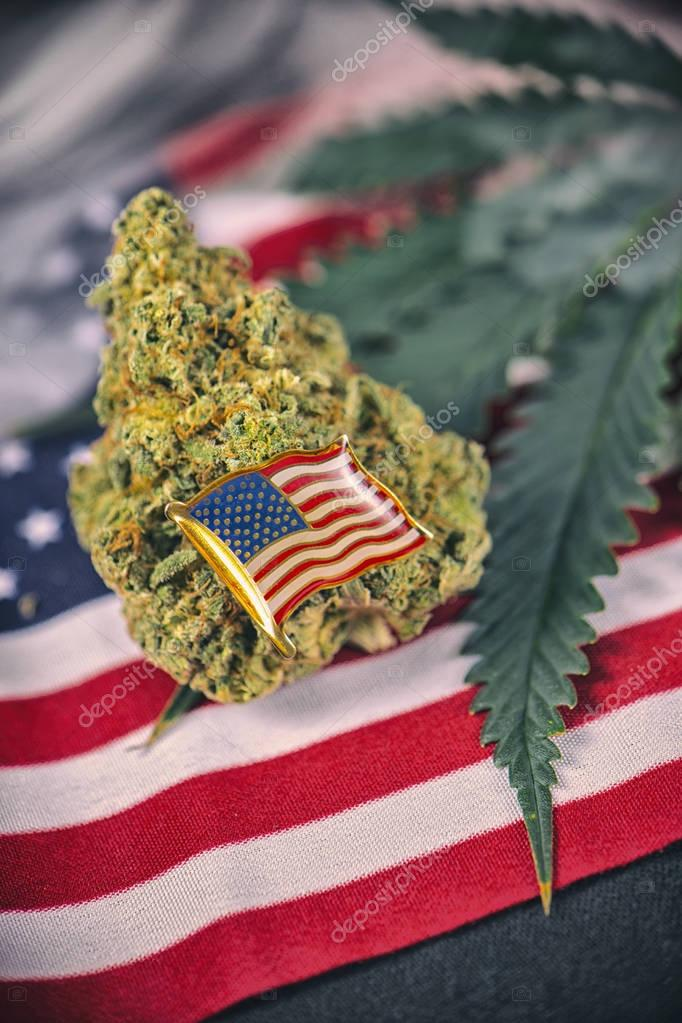 Cannabis bud, leaf and american flag with copyspace - veteran me