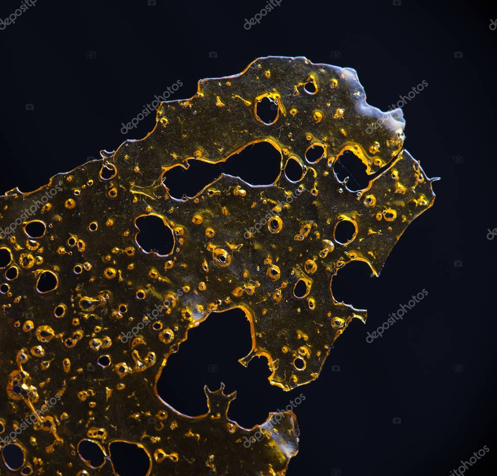 Close up detail of marijuana oil concentrate aka shatter isolate