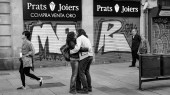 Barcelona wiedervereinigtes Paar, Spanien.