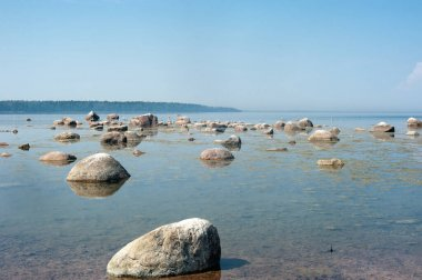 wide angle baltic sea with stones