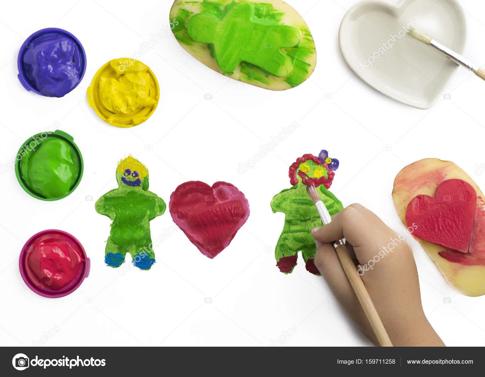 Unika Barn spela målning med potatis stämplar, — Stockfotografi © Freila UB-37