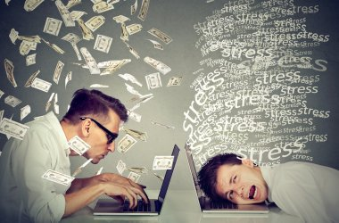 Stressed man next to man under money rain. Pay labor difference
