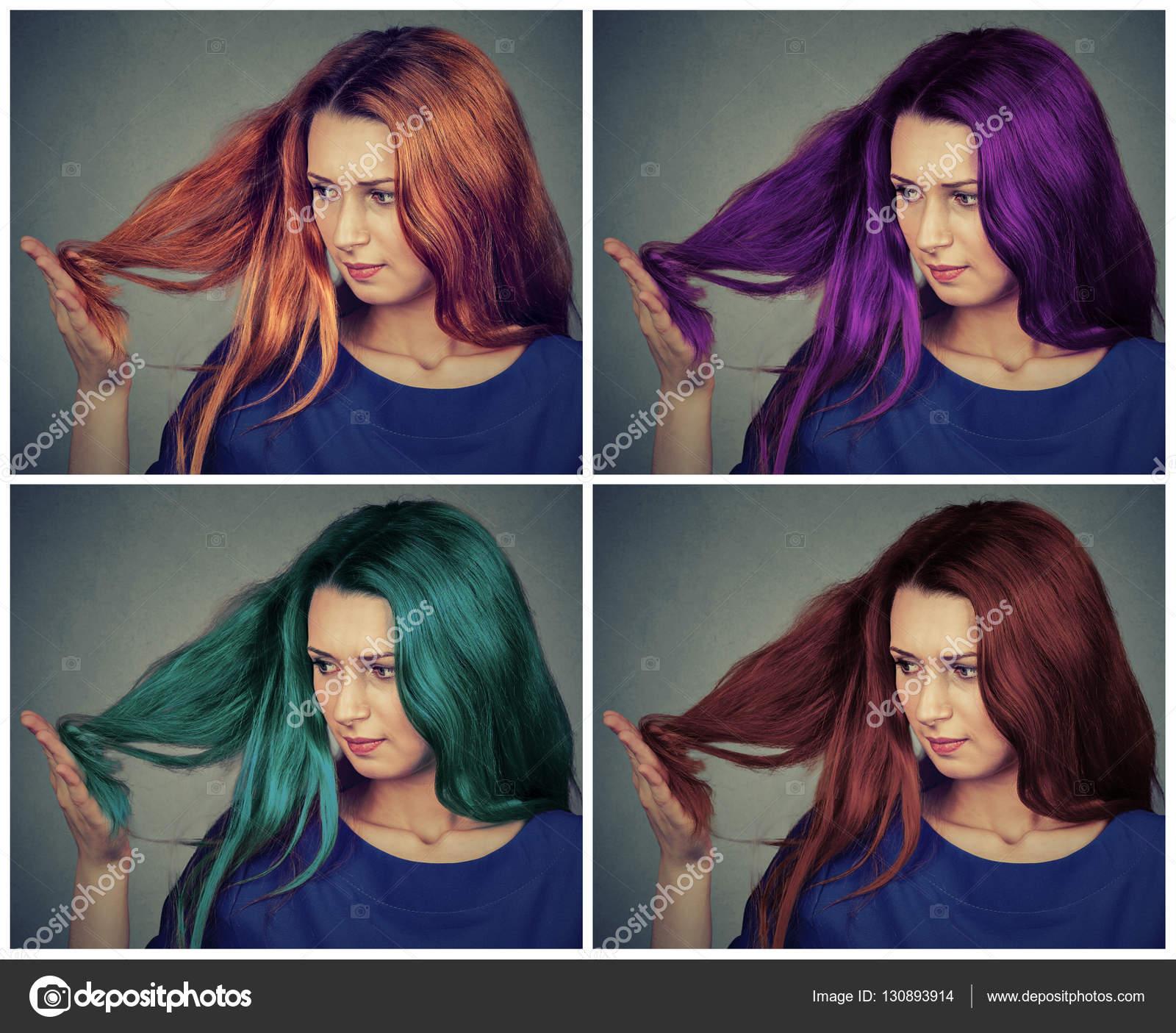 Değişik Saç Modelleri Saç Rengi Olan Güzel Kadın Stok Foto