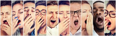 Multiethnic group of sleepy people women men yawning looking bored